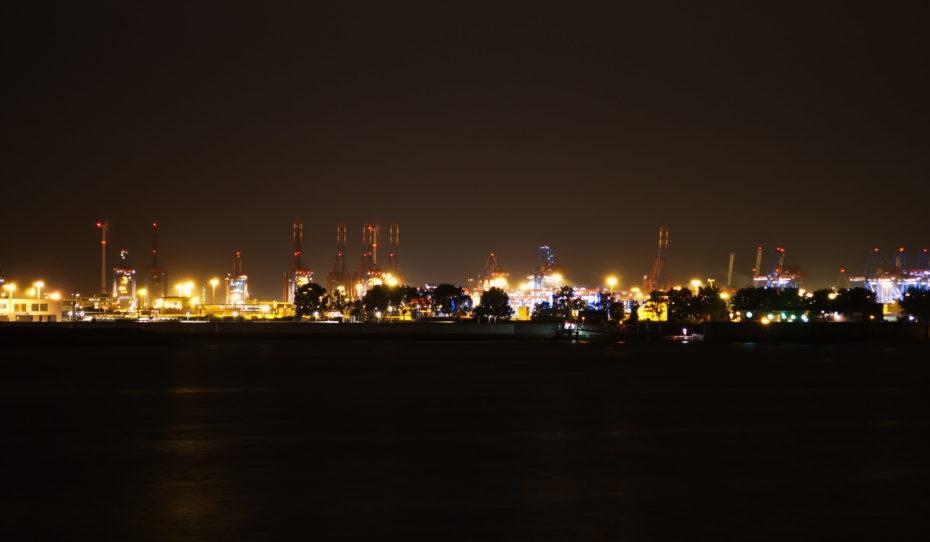 Hamburg Hafen 2 Hafen Panorama Nacht Wasser Kräne