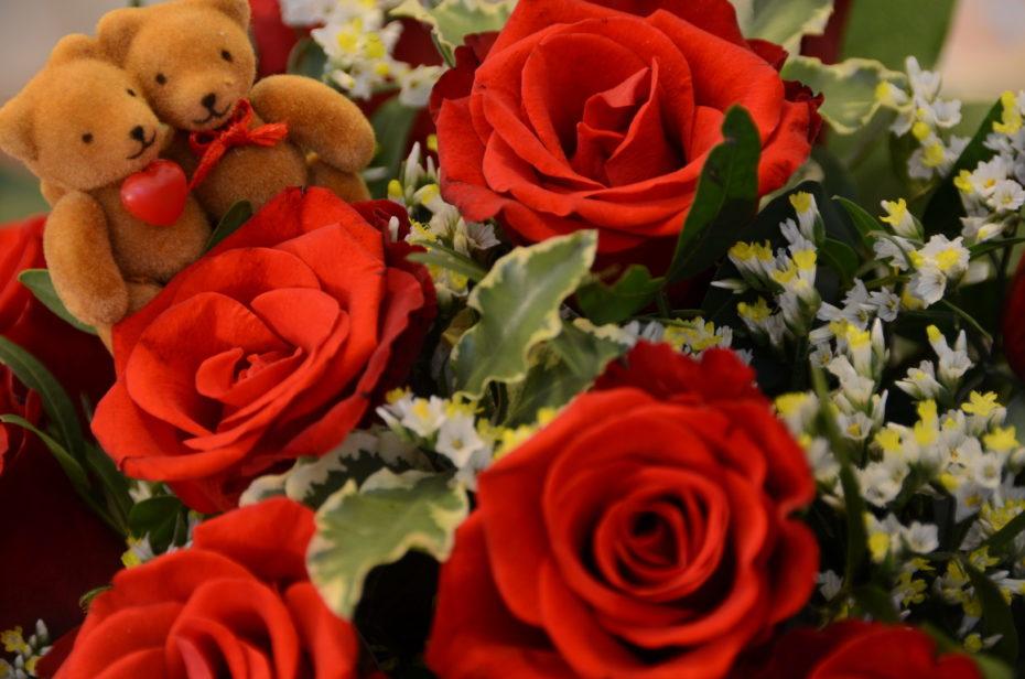 Valentinstag Blumen Rosen Rot Herz Bären Blätter Grün