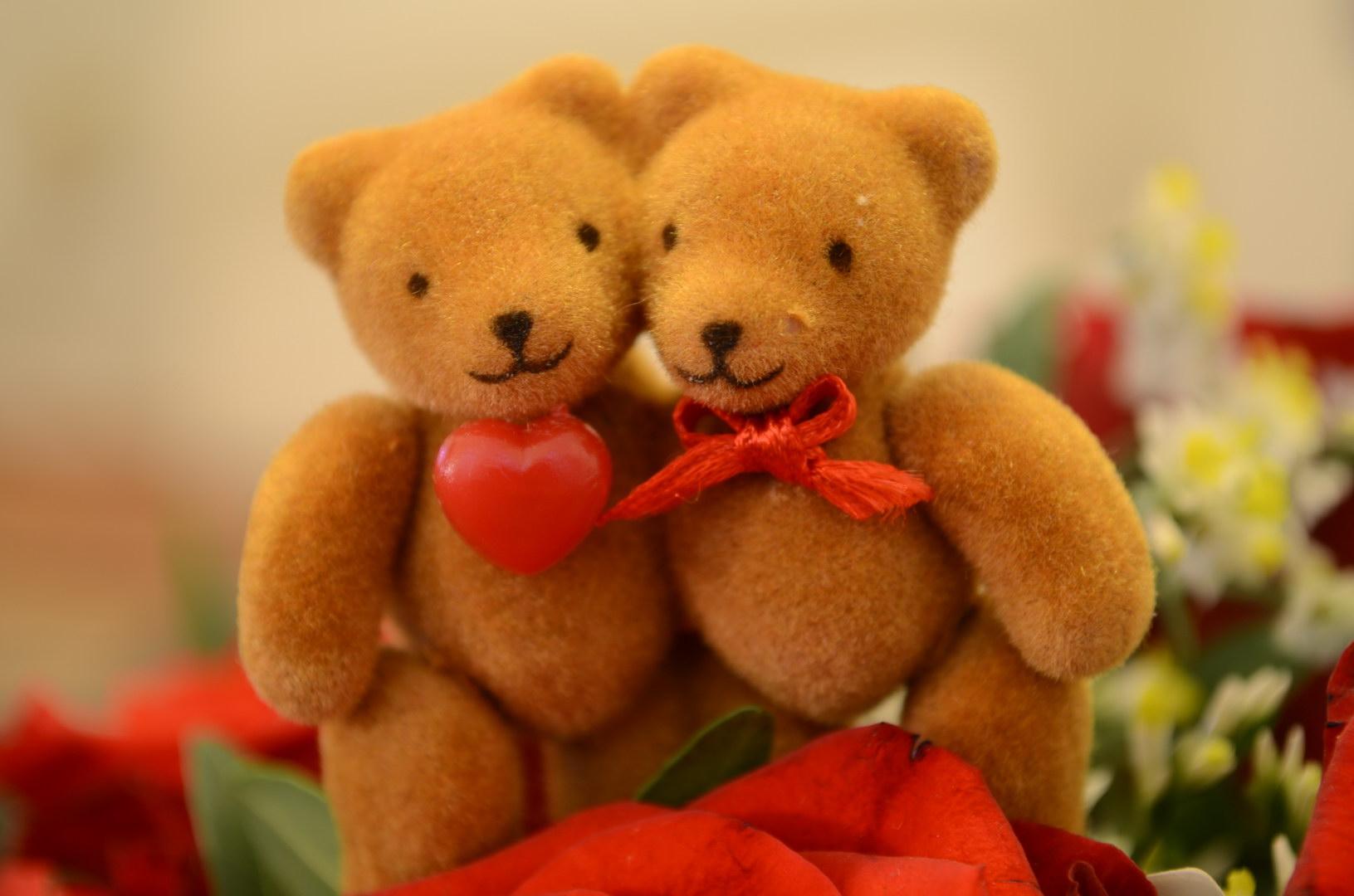Bären Herz Rot Schleife Stoff Blumenstrauß Rosen