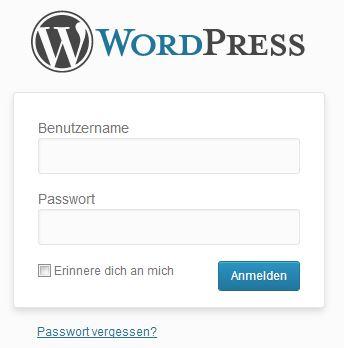 wordpress login passwort