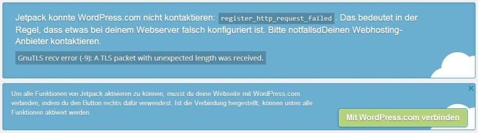 register http request failed jetpack fehler