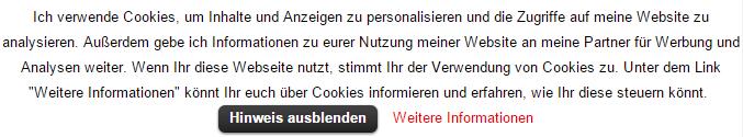 Cookie Law Info Hinweis ausblenden