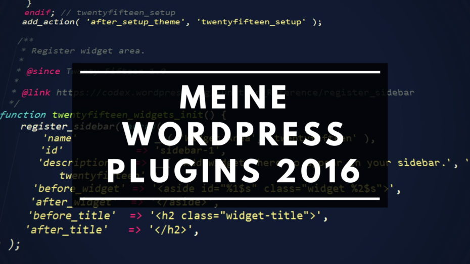 Meine WordPress Plugins 2016