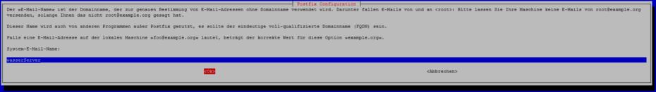 postfix konfiguration domainname