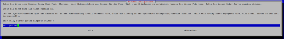 postfix konfiguration smtp relay server
